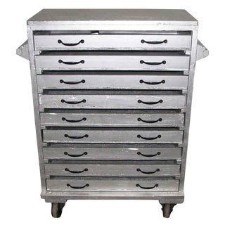 Sliver Painted Wood 9-Drawer Chest For Sale