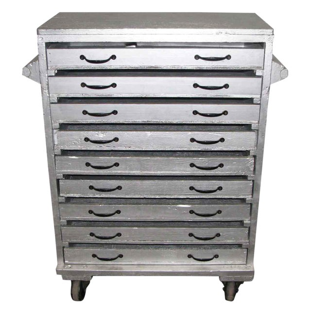 Sliver Painted Wood 9-Drawer Chest - Image 1 of 10