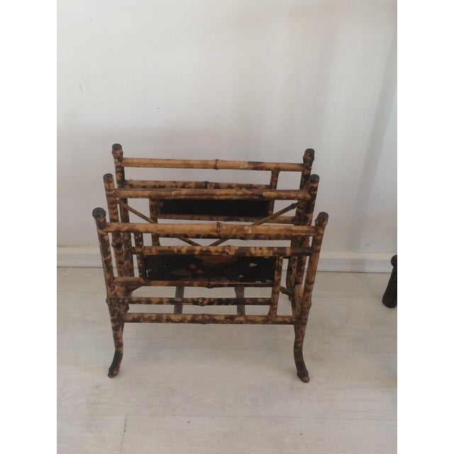 Brown 19th Century Boho Chic Bamboo Magazine Rack For Sale - Image 8 of 9
