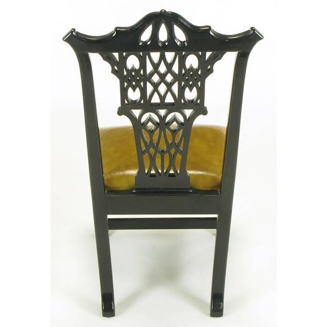Eight Chinese Chippendale Ebonized Mahogany Dining Chairs with Leather Seats - Image 5 of 10