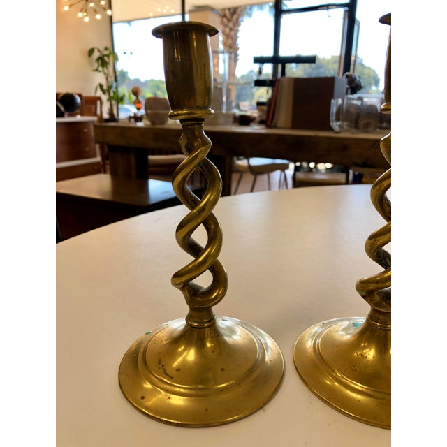 They have been loved and you'll love them too! 1970s vintage brass spiraled design candle holders , set of 2.
