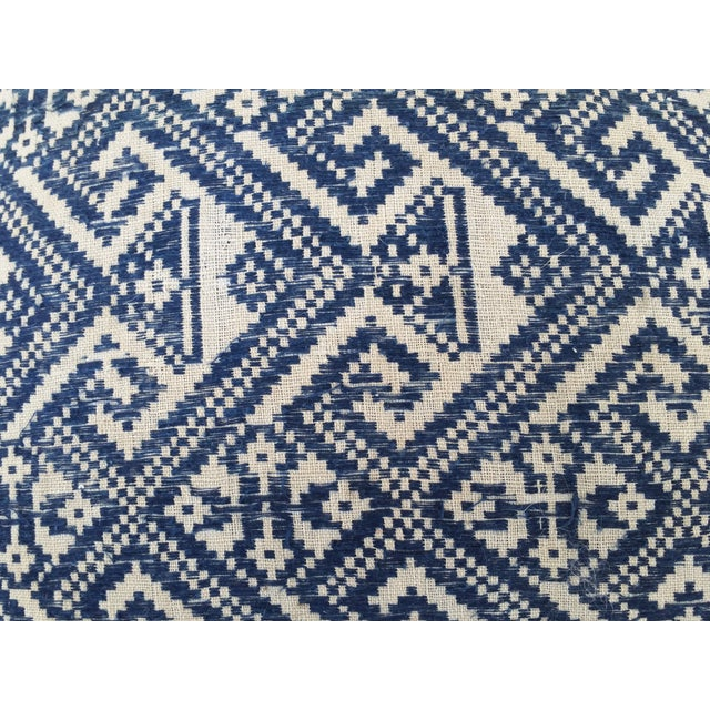 Hill Tribe Embroidered Indigo Silk Pillow - Image 3 of 5