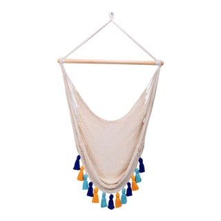 Deluxe Natural Cotton Hammock Swing with Hue Inspired Tassels For Sale