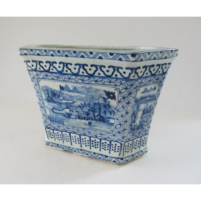 Early 20th Century Chinoiserie Blue & White Hexagonal Jardiniere For Sale - Image 5 of 13