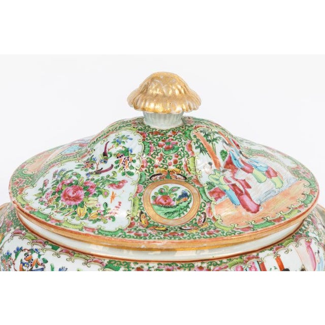 19th Century Rose Medallion Covered Tureen and Platter - 2 Pieces For Sale - Image 9 of 11