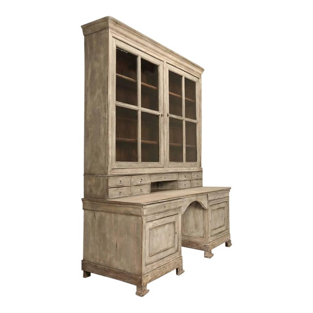 Antique French Bookcase and Desk For Sale