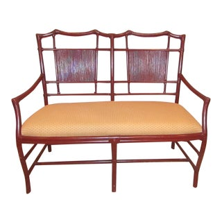 Contemporary Bamboo Wood Upholstered Bench For Sale
