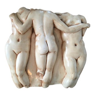 Vintage Mid-Century Modern Plaster Nude Women Torso Figures Studio Pottery Wall Art For Sale