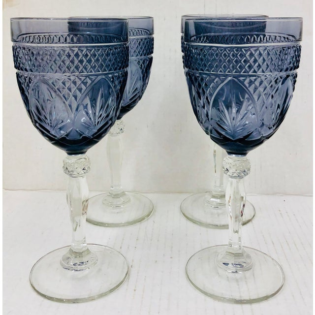 Abstract Set Vintage Glass Goblets For Sale - Image 3 of 5