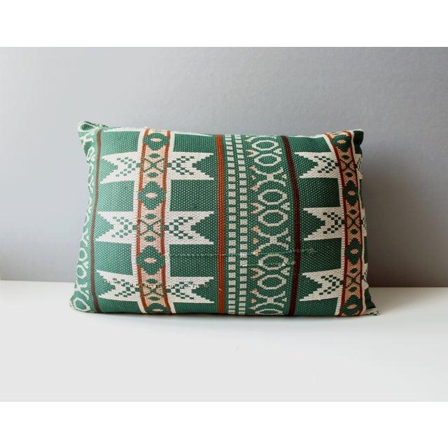 Vintage Bohemian Ikat Green Kilim Pillow - Image 5 of 6