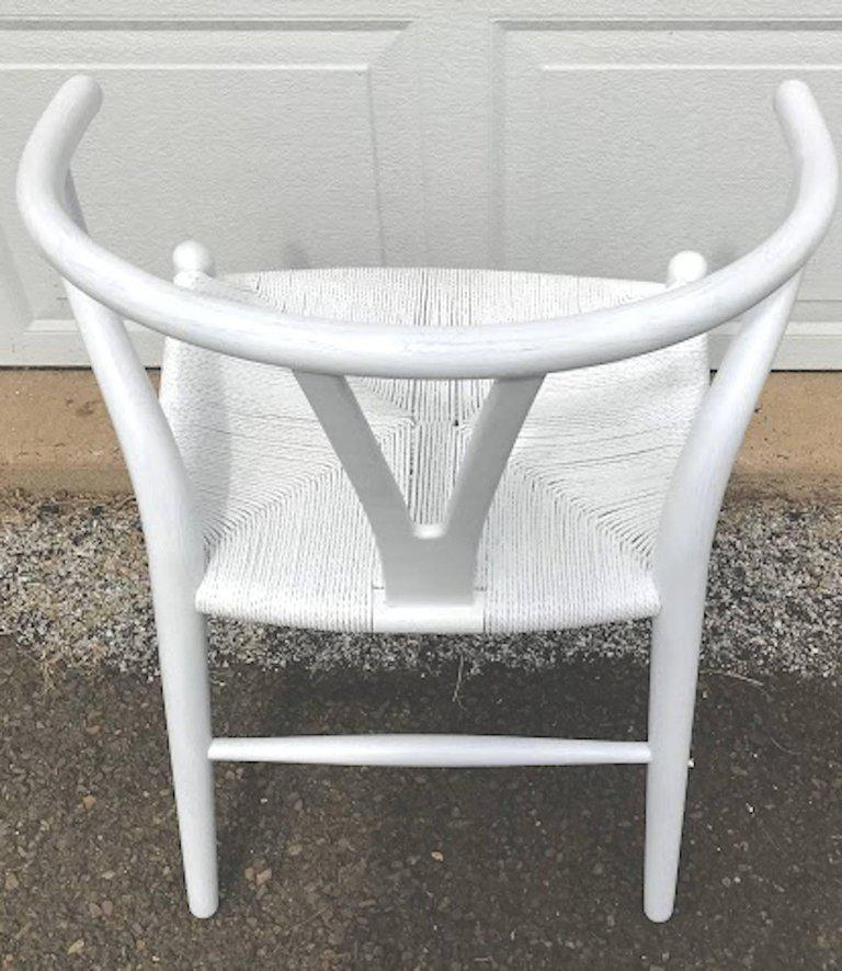 Hans Wegner Wishbone Chairs, CH24 In White   Set Of 4   Image 6 Of
