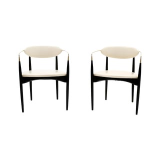 Pair of White Viscount Chairs by Dan Johnson For Sale