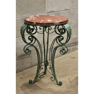 Vintage Art Nouveau Round Rouge Marble Top Wrought Iron Side Table Preview