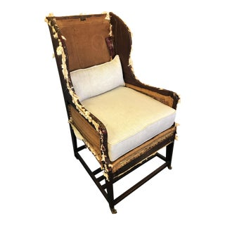 19th Century English Deconstructed Wing Back Chair With New Linen Cushions For Sale