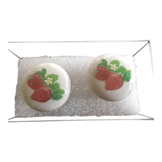Strawberry Fields Hand Painted/Decoupage Knobs - A Pair For Sale