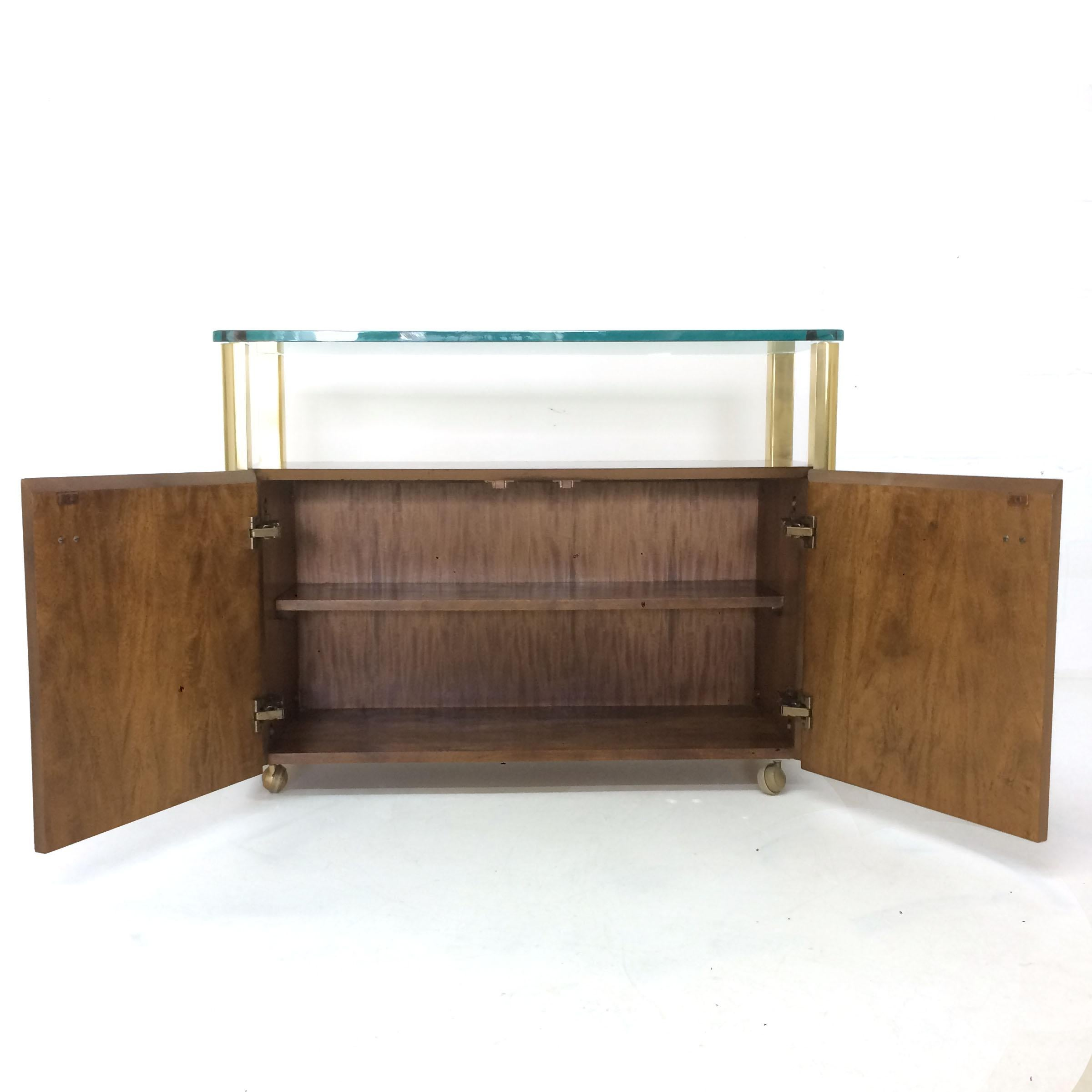 Burled Wood U0026 Brass Console By Century Furniture Company For Sale In New  York   Image