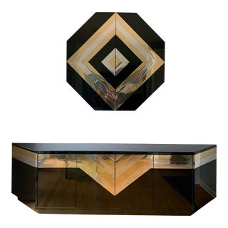 Monumental Sideboard & Wall Cabinet in Smoked Glass, Brass and Chrome For Sale