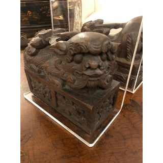 Carved Wood Foo Dogs and Lucite Bookends - a Pair Preview