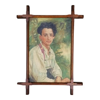 Oil Portrait Painting of a French Country Man For Sale