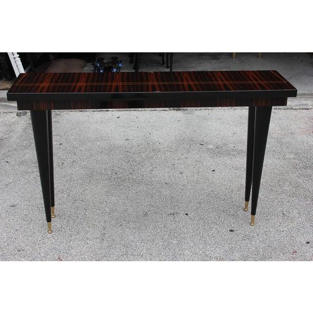 French Art Deco Exotic Macassar Ebony Console Table - Image 2 of 10