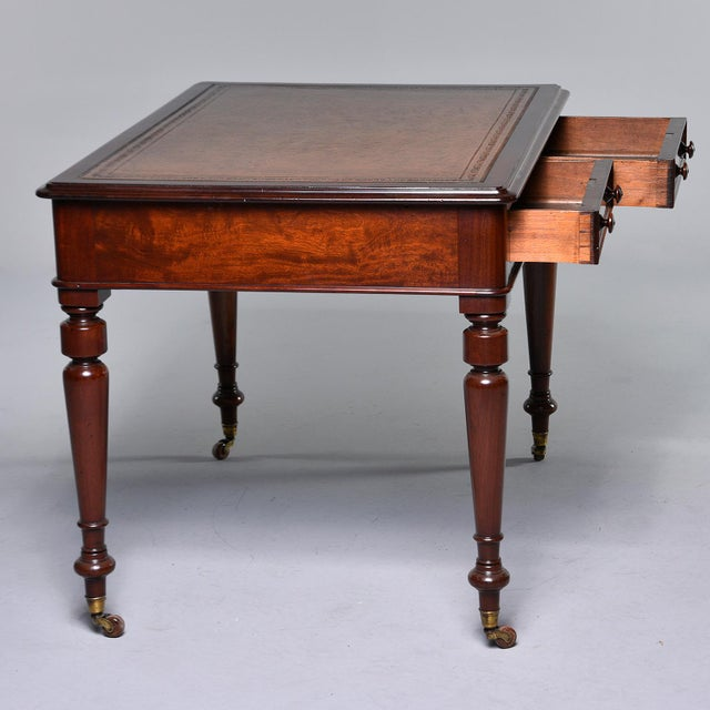 Metal Late 19th Century English Mahogany Desk With Leather Top For Sale - Image 7 of 13