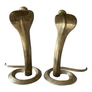 Brass Cobra Snake Statues or Andirons For Sale