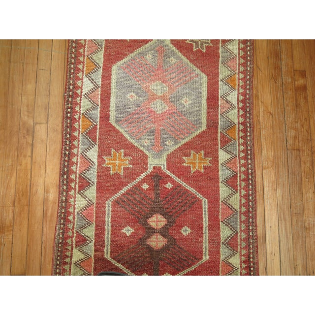 Red Vintage Anatolian Geometric Runner - 2'9'' x 14' For Sale - Image 8 of 8