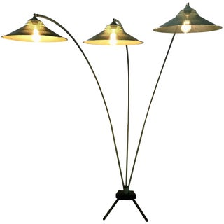 Modernist Triple Arced Metal Floor Lamp Manner of Mathieu Mategot For Sale