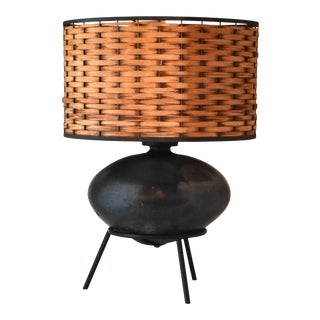 Black Iron Mid-Century Table Lamp With Woven Rattan Shade For Sale