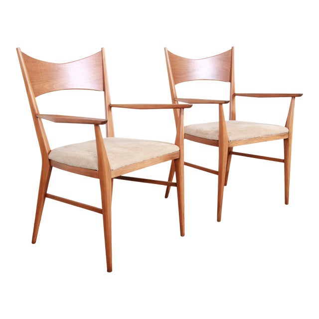 Paul McCobb for Calvin Mid-Century Modern Sculpted Walnut Bow Tie Armchairs - a Pair For Sale