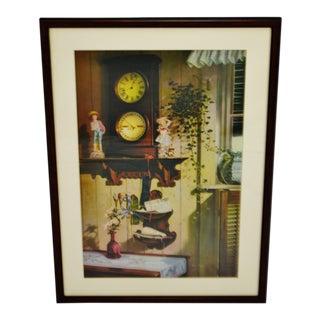 Vintage Framed Dan Toigo Print Titled Wall Clock For Sale