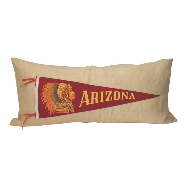 Arizona Indian Pennant on Linen Pillow For Sale