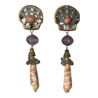 Seashell and Gem Earrings For Sale