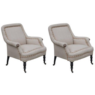 Pair of Square Napoleon III Bergeres on Casters For Sale