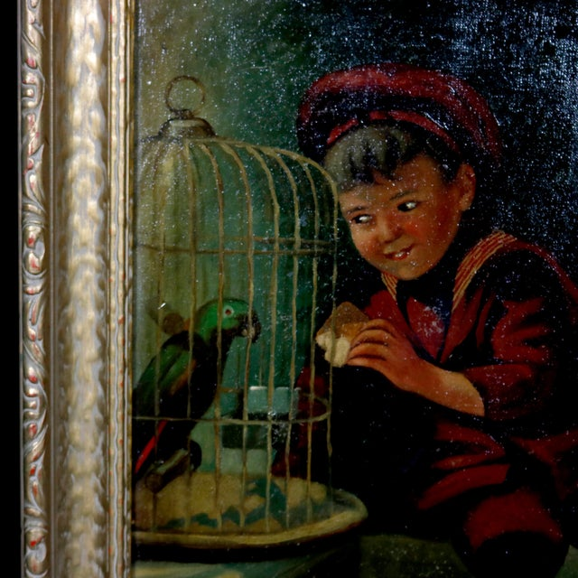 Figurative Antique Oil on Canvas Boy & Parrot Genre Painting, Artist Signed, Circa 1920 For Sale - Image 3 of 8