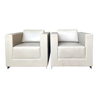Contemporary Bernhardt Leather Club Chairs - a Pair For Sale