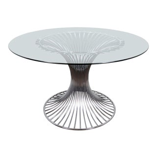 Modernist Chrome Dining Table by Gastone Rinaldi For Sale