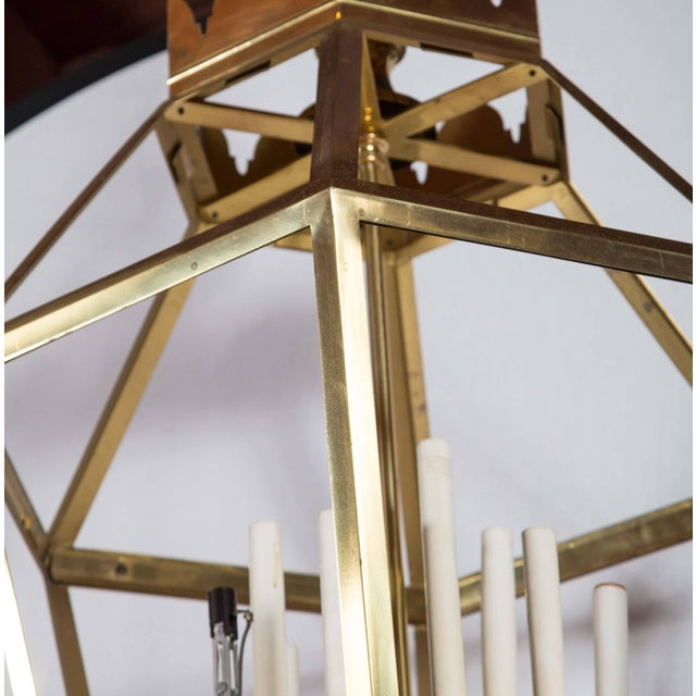 1960s 1960s Vintage Hexagonal Brass Lantern For Sale - Image 5 of 8