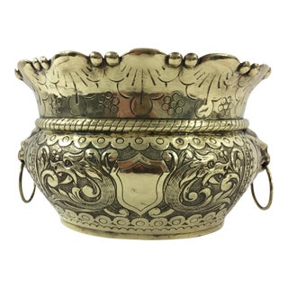 Napoleon III Oval Brass Planter with Lion Pulls