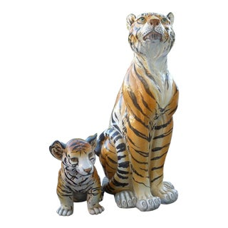 Pair of Large Mid-Century Italian Glazed Terracotta Tigers, Mother and Her Cub For Sale