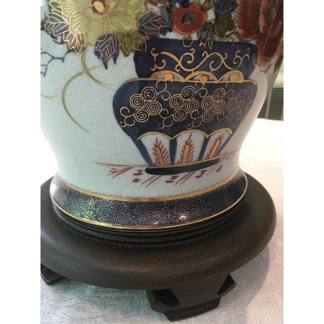 Blue Asian Floral Table Lamp For Sale - Image 8 of 10