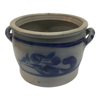 Blue & Gray Old Earthenware New York Pot
