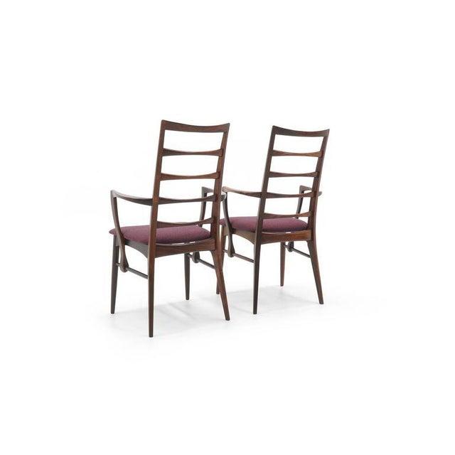 "Danish Modern Pair of Rosewood ""Lis"" Dining Armchairs by Niels Koefoed for Koefoed Hornslet For Sale - Image 3 of 9"