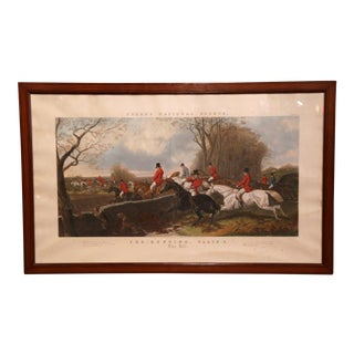 """Large 19th Century English Fox Hunt Scene """"The Hill"""" Framed Watercolor Painting For Sale"""