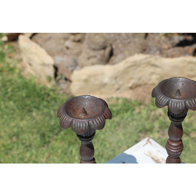 Early 20th Century Antique Victorian Cast Iron Floral Candleholders - a Pair For Sale - Image 5 of 13
