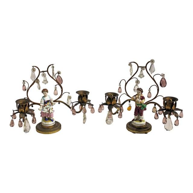 Gilt Bronze Porcelain Figurine Candelabras - a Pair For Sale