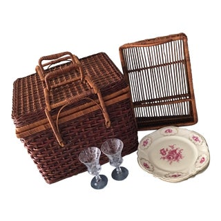 Vintage French Picnic Basket With Rosenthal China