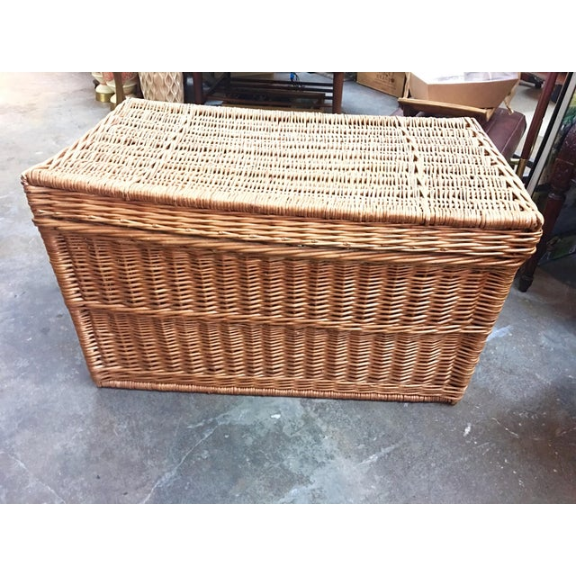 Cottage French Wicker Trunk For Sale - Image 3 of 7