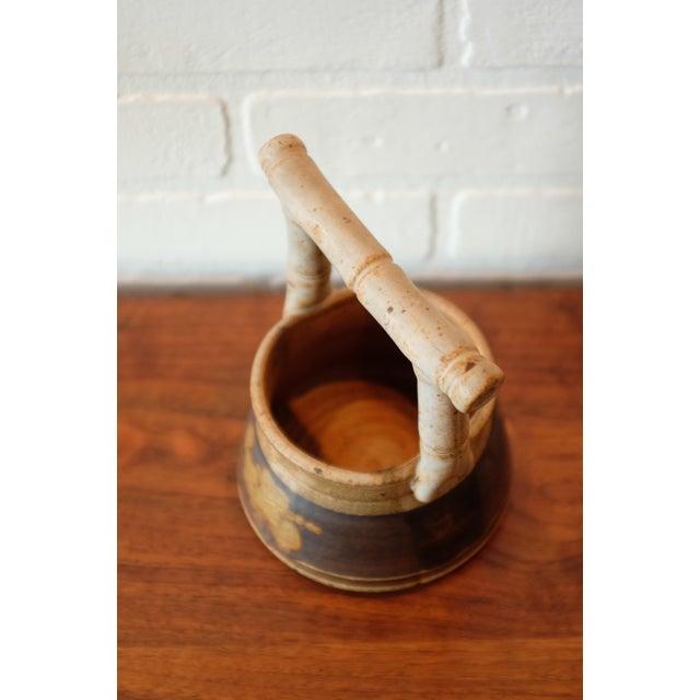 Vintage Handmade Floral Studio Pottery Vessel For Sale - Image 5 of 7