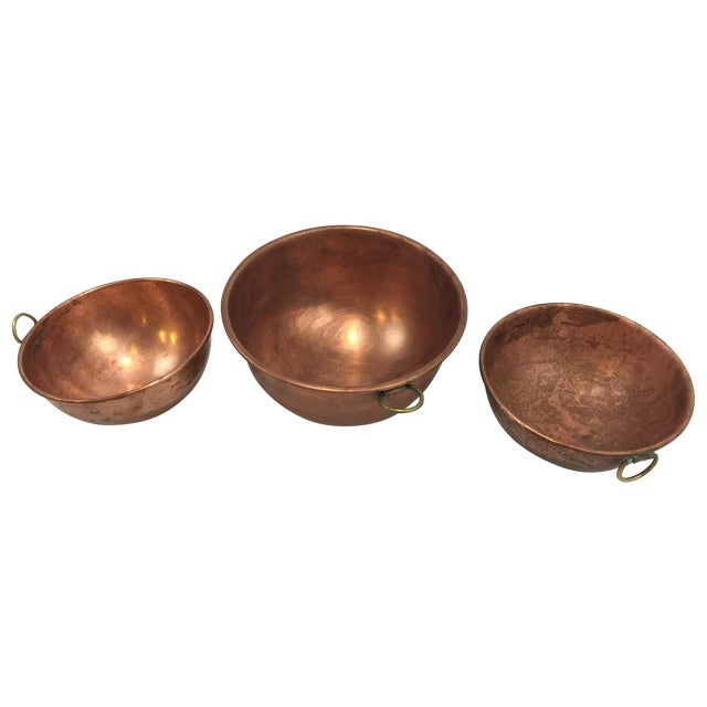 Vintage Copper Baking Bowls - Set of 3 - Image 1 of 6